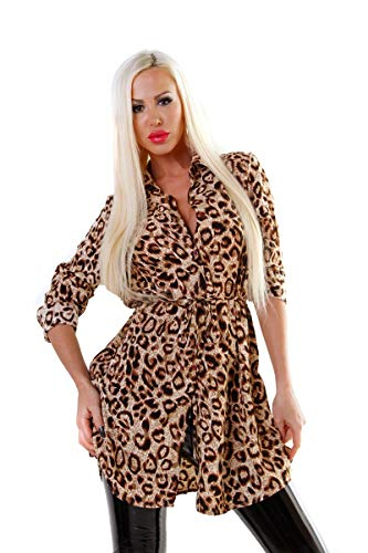 OSAB-Fashion 5572 Damesblouse met lange mouwen hemdblouse tuniek damesblouse luipaard