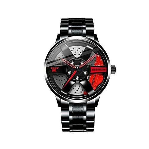 Reloj del Eje del Borde de la Rueda de Coche, Reloj japonés Impermeable del Eje del Borde de los Hombres del Movimiento del Cuarzo del Deporte 3D (Red)