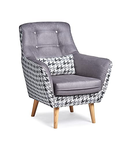 Butaca Viena, sillón de diseño con Estampado de Patas de Gallo. Tamaño reducido para salón o Dormitorio. (Gris)