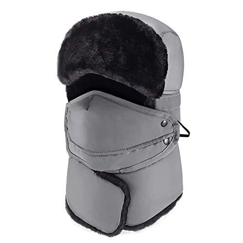 mysuntown Trapper Hat Winter Hats for Women Men with Faux Fur Neck Warmer, Windproof Waterproof Thick Trooper Ushanka Ski Hat mask for Outdoor,Blue