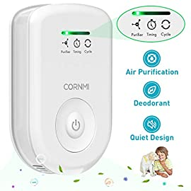 Air Purifiers Plug In for Home, Mini Odor Eliminator丨Ozone Negative Ion Dual Function丨Ionizer to Remove Smoke Pet Toilet… 8 🍃2-in-1 Pluggable Air Purifier: CORNMI air purifier has a built-in ozone and negative ion generator. Ozone has a strong oxidative decomposition ability, and negative ions can absorb dust. The combination of these two functions can effectively eliminate pet odor, secondhand smoke and kitchen oil fume, allowing you to enjoy natural fresh air at home. 🍃Ozone Deodorization Function: The deodorizer can achieve the purpose of comprehensive and efficient cleaning by short-term releasing low-concentration O₃. O₃ has strong permeability, diffusibility and decomposition ability, which can effectively eliminate harmful substances and smells in the air. 🍃Anion Purification Function: The air ionizer can produce anion, combine with the dust that are positive ions in the air and sink to the ground, avoiding the danger of inhaling floating objects. And achieve the removal of cigarette smoke, oil fume and other particles matter. Effectively refresh the air and improve the quality of sleep.