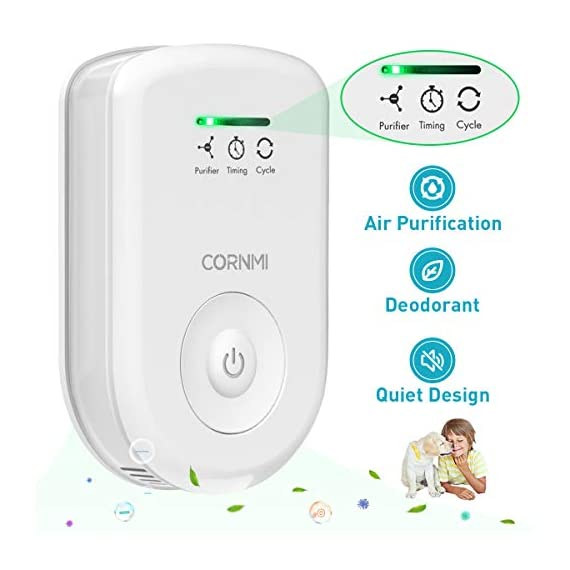 Air purifiers plug in for home, mini odor eliminator丨ozone negative ion dual function丨ionizer to remove smoke pet toilet… 1 🍃2-in-1 pluggable air purifier: cornmi air purifier has a built-in ozone and negative ion generator. Ozone has a strong oxidative decomposition ability, and negative ions can absorb dust. The combination of these two functions can effectively eliminate pet odor, secondhand smoke and kitchen oil fume, allowing you to enjoy natural fresh air at home. 🍃ozone deodorization function: the deodorizer can achieve the purpose of comprehensive and efficient cleaning by short-term releasing low-concentration o₃. O₃ has strong permeability, diffusibility and decomposition ability, which can effectively eliminate harmful substances and smells in the air. 🍃anion purification function: the air ionizer can produce anion, combine with the dust that are positive ions in the air and sink to the ground, avoiding the danger of inhaling floating objects. And achieve the removal of cigarette smoke, oil fumeand other particles matter. Effectivelyrefresh the air and improve the quality of sleep.
