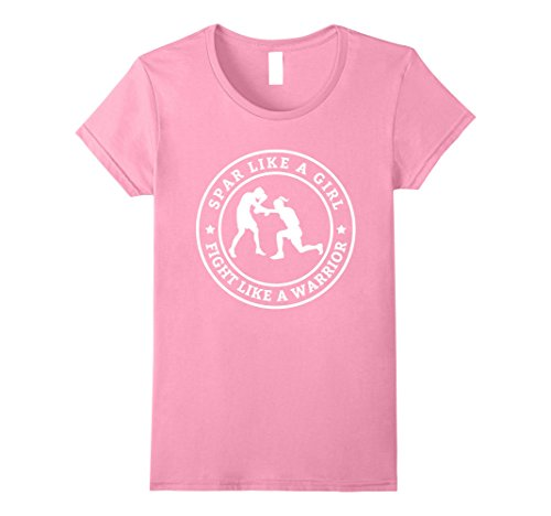 Womens Spar Like A Girl Boxing Quote Funny Martial Arts T-Shirt Large Pink