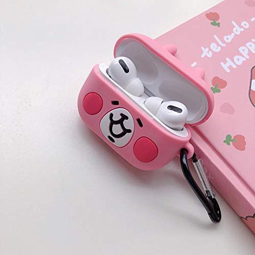 Funda para AirPods 1 y 2 Pro Funny Cute 3D con dibujos animados en 3D, funda protectora para auriculares, piel de anime rosa conejo conejo + hebilla de hierro para AirPods Pro