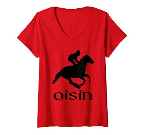 Womens Oisin Returning from Tir Na Nog - Celtic Irish Mythology V-Neck T-Shirt