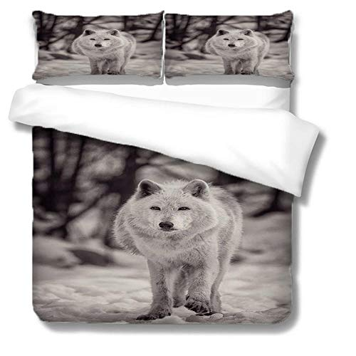 HLL Bedding set full 3 pieces 3D animal printing Black and white wolf Cover Twin Kids Teen Duvet Cover Set Animal Theme Decor Bedspread