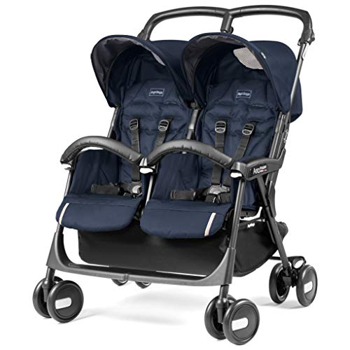 Peg Perego Aria Shopper Twin Passeggino Gemellare Compatto, Blu Scuro