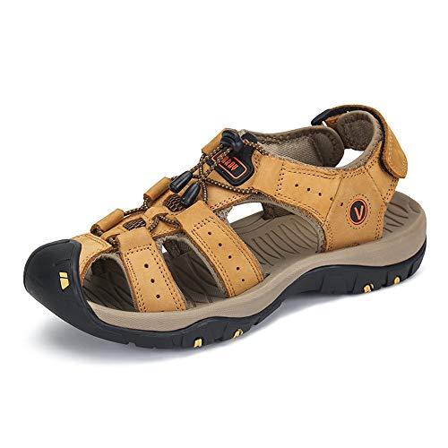 Sandalias de Verano Playa para Hombre Antideslizante Plataforma Calzados Deportivas Ajustable Hebilla Velcro Suede Slipper Amarillo 42