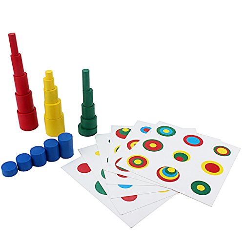 Montessori Knobless Cylinders Montessori Color Cylinders with Cards Sorting & Stacking Toys Montessori Materials Wooden Cylinders Ladder Blocks Memory Training Game Early Development Toy for Kids