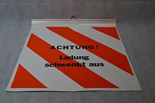 1 X Warnflagge für Langholzfuhrwerke 50 X 50 CM Robust LKW Plane beidseitig beschriftet mit: - Achtung Ladung schwenkt aus - Endfahne Schlussfahne 50 x 50 cm Warnflagge überstehende Ladung Finne