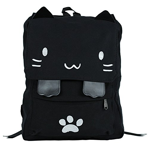Black College Cute Cat Embroidery Canvas School Backpack Bags for Kids Kitty(White)