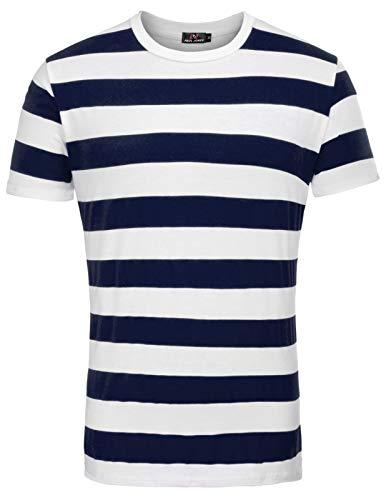 PaulJones Camiseta para Hombre Trendy Casual Classic Stripe Talla XL Rojo