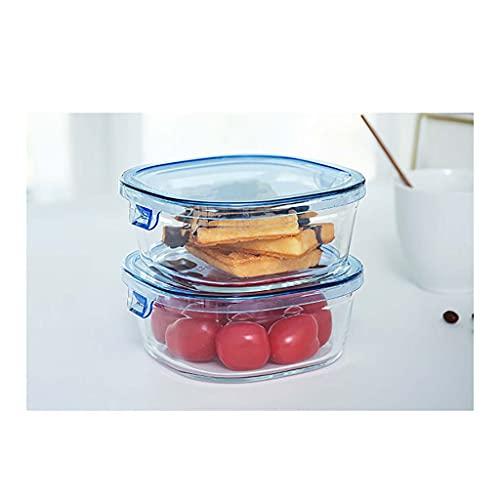 Juegos de recipientes Combinadores De Preparación De Harina De Vidrio De 2 Unids - Contenedores De Preparación De Alimentos De 450 Ml Con Tapa De Comida Prep - Envases De Almacenamiento De(Color:azul)