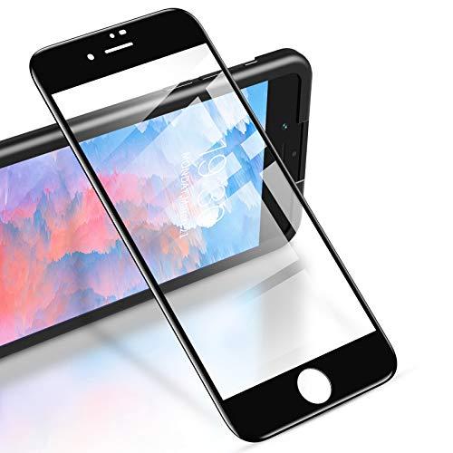 "RIWNNI [2 Unidades Cristal Templado para iPhone 8 Plus/7 Plus, Cobertura Completa Protector Pantalla 9H Dureza Vidrio Templado [Marco Instalación Fácil] para iPhone 8 Plus/7 Plus 5.5"" - Negro"