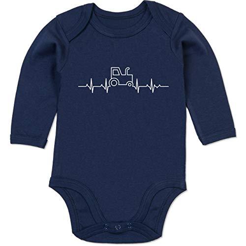Shirtracer Fahrzeuge Baby - Herzschlag Traktor - 6/12 Monate - Navy Blau - Baby Herzschlag Traktor - BZ30 - Baby Body Langarm