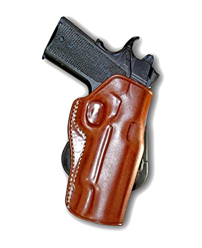 Premium Leather OWB Paddle Holster Open Top Fits, Colt 1911 5''BBL, Right Hand Draw, Brown Color #1009#