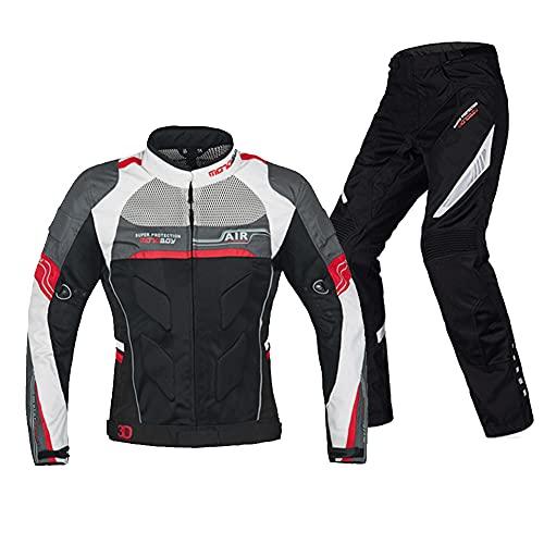 LITI Chaqueta Moto Verano + Motocicleta Pantalones 2 Piezas con CE Armadura, Respirable, Reflexión De Alto Brillo, para Verano Primavera Otoño