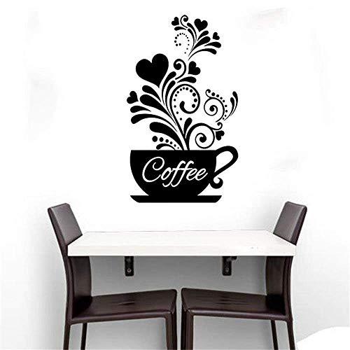 JIAHONG Pegatinas de pared de Copa decoración pegatinas de pared creativo de café del amor etiqueta, Eco-friendly Decoración Dormitorio Antecedentes finamente tallada autoadhesivo etiqueta de la pared