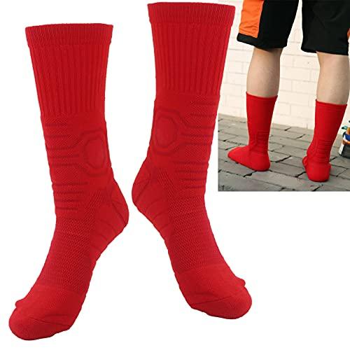 AMONIDA Calcetines para Correr, Calcetines de Baloncesto Que protegen los pies del diseño de Malla cortante Reduce la fricción del pie Talón en Forma de Y para Jugar al Baloncesto(Red)
