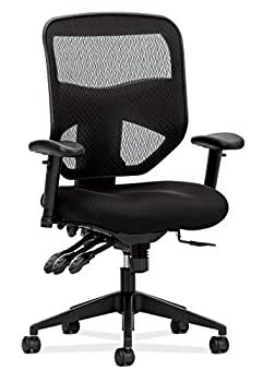 HON Prominent Mesh High-Back Task Chair with Seat Glide and Height- and Width-Adjustable Arms Asynchronous Control Black