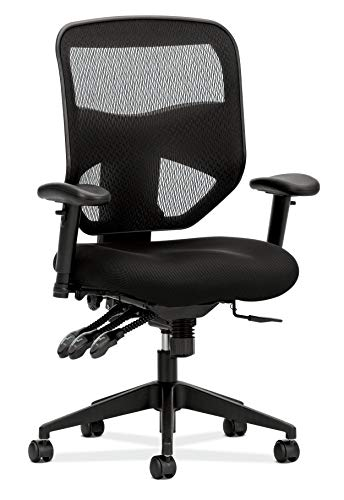 HON Prominent High Back Task Mesh Computer Chair with Arms for Office Desk, Black (HVL532), Asynchronous Control