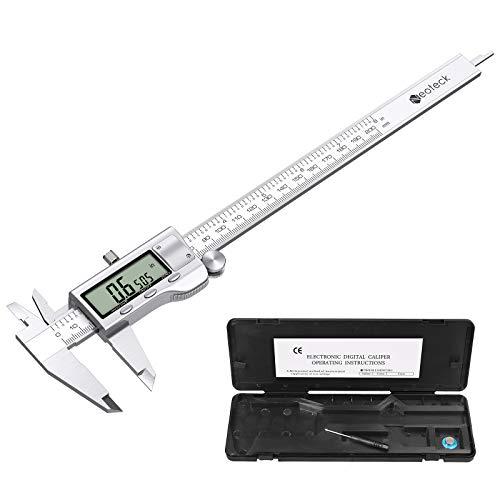 Neoteck Calibre Digital Acero Inoxidable 0-200mm/8Inch Pie de Rey Calibrador Electrónico Fracciones/Inch/Metrico Cambio de Herramienta de Medición para Longitud Ancho Profundidad Diámetro Interior