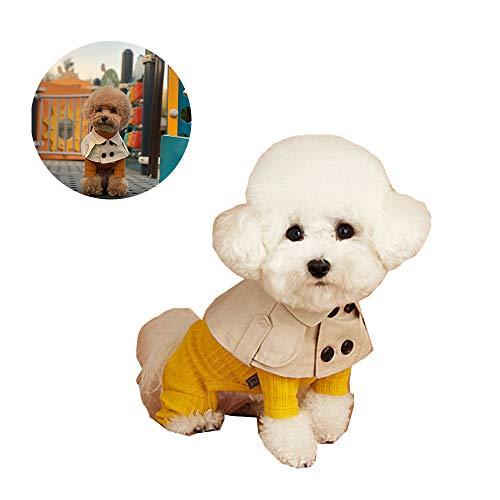 Hond trenchcoat cape, Teddy Bear Corgi methode Britse stijl riemen om schattige speeksel handdoek halsband te verkopen,Beige,L