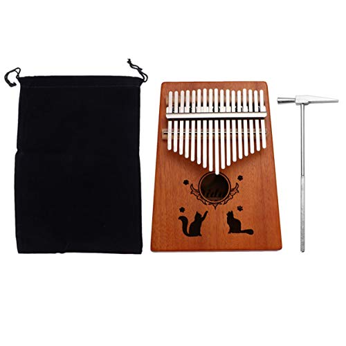 ULTNICE Kalimba Daumenklavier 17 Schlüssel Daumen mit Stimmhammer Klaviertasche Holz Tragbar Finger Piano für Geburtsgeschenk Anfänger (Zwei Katzen)