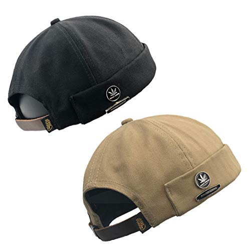 Unisex Beanie Corduroy Docker Brimless Hat Rolled Cuff Harbour Hat (W- 2 Pack Black/Khaki)