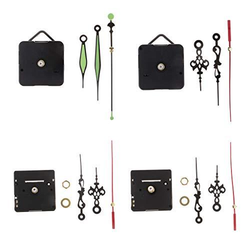 Paquete de 4 Kits Movimiento Silencioso de Reloj de Pared con Puntero para Bricolaje Y Reparación