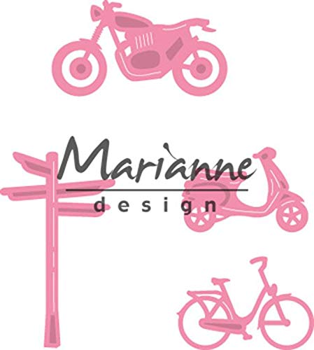 Marianne Design Fustelle Set Decorazioni Paesaggi e Biciclette, Metal, Pink, 17x14x3 cm
