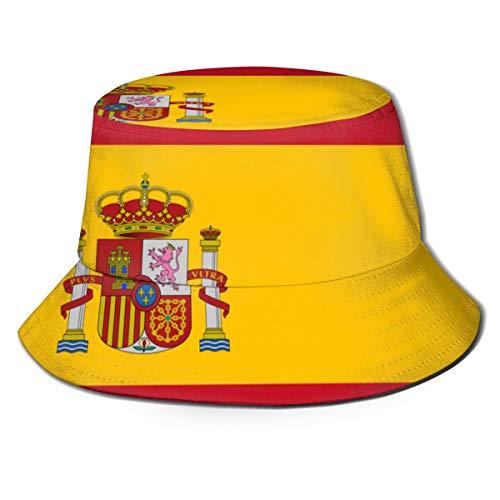 Bandera de España Sombrero de Pesca de Playa para Hombre con protección UV Exterior de Malla Plegable de ala Ancha