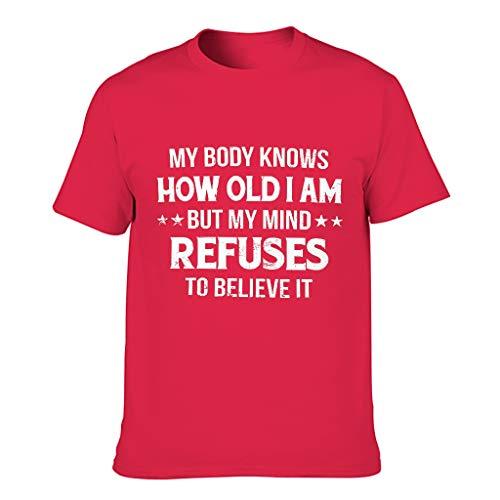 "Camiseta de manga corta para hombre, diseño con texto en inglés ""wie alt ich Bin"" Red1 L"