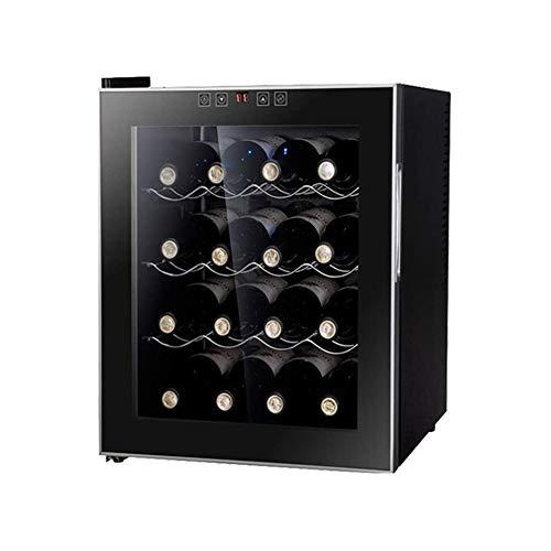 WSMLA 16 Botella con patas enfriador de vino Negro y acero inoxidable rojo de vino Vino termostato incrustado gabinete del vino Termostato de Hogares electrónico mini gabinete pequeño bar de hielo ref