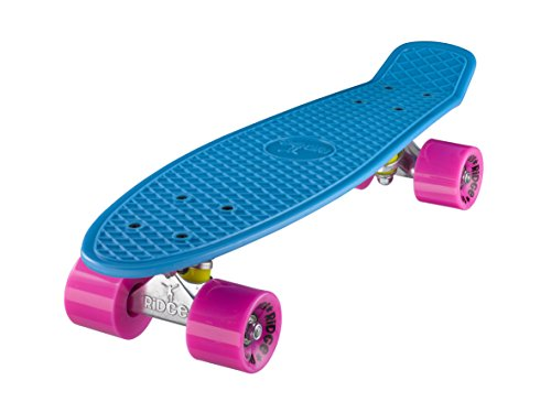 Ridge Skateboard 55 cm Mini Cruiser Retro Stil In M Rollen, blue/pink, 22/blue/pink/0799872520692