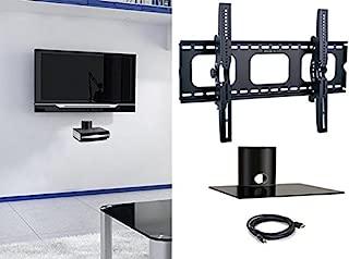 2xhome - New TV Wall Mount Bracket & Single Shelf Package – Secure LED LCD Plasma Smart 3D WiFi Flat Panel Screen Monitor Moniter Display Large Displays