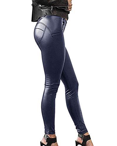 Minetom Mujeres Pu Leggins Cuero Skinny Elásticos Mujer Pantalones de Cuero Elásticos Leggins Piel de Moda A Azul ES 36