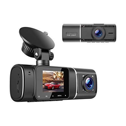 """TOGUARD Cámara Dual FHD 1080p Frontal y Cámara de Cabina Interna de Tablero Visión Nocturna IR, LCD 1.5 """"de Doble Lente de Ángulo Amplio 310 °, Vigilancia de Coche, para Uber, Carro, Camión"""