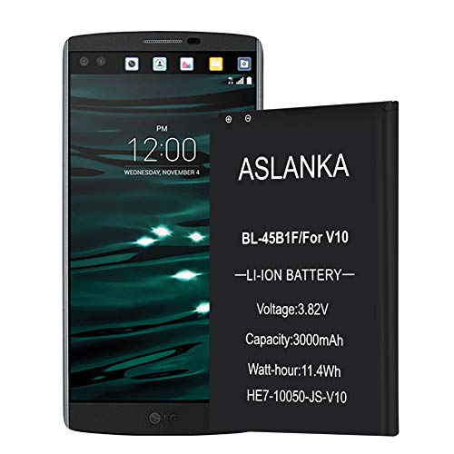 Aslanka LG V10 Battery-New Cycle 3000mAh Original Capacity Replacement Battery-for V10 VS990,RS987,H901,H900,H960A-12 Months Warranty