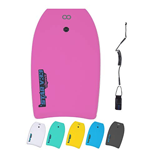 WOOWAVE Bodyboard 33-inch/37-inch/42-inch Premium EVA Body Board with Coiled Wrist Leash,Super Lightweight EPS Core and HDPE Slick Bottom,Perfect Surfing for Kids Teens and Adults(33 inch, Pink)