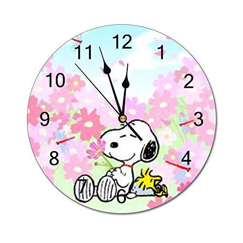 Yokjldh Snoopy PVC-Wanduhr, dekorative digitale Uhr, batteriebetrieben, rund, leicht zu lesen, für Zuhause/Büro/Schule, Kinderuhr
