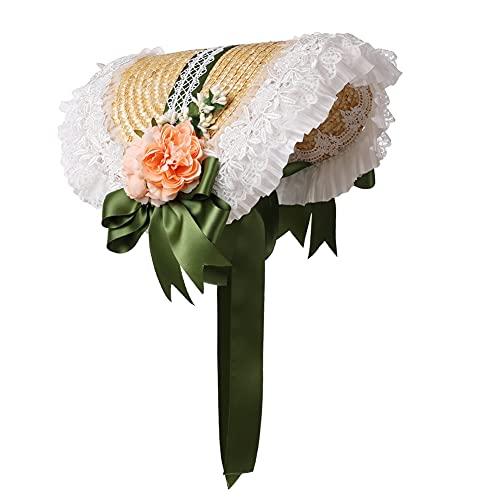 Girls Women Victorian Bonnet Hat Lolita Lace Flower Sun Hat