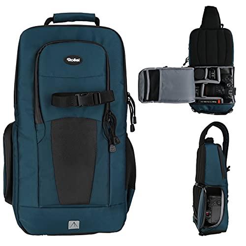 Rollei Fotoliner Ocean Slingbag: Crosspack-Kamerarucksack aus 45 PET-Flaschen, für die kleine Foto-Ausrüstung, inkl. Regenschutz, petrol