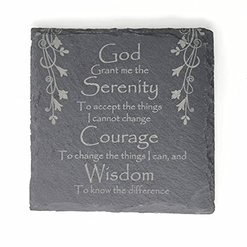 Serenity - Posavasos de oración con láser grabado en pizarra cuadrada de 10 cm con patas acolchadas para regalo