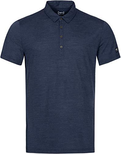 super.natural Polo pour Hommes, Laine mérinos, M EVERYDAY POLO, Taille: M, Couleur: Bleu foncé chiné