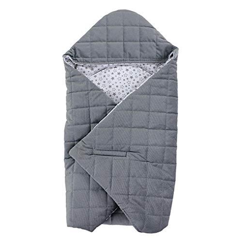 TupTam Baby Winter Einschlagdecke für Babyschale, Farbe: Sternchen Grau/Weiß, Größe: ca. 75 x 75 cm