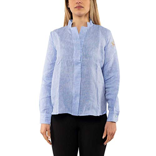 La Martina WOMAN LINEN SHIRT DONNA - 4, BLU