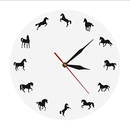 Djkaa paardensilhouet wandklok voor het trainen van paarden, minimalistisch design, modern, decoratief, wanddecoratie, cadeau voor paardrijders (10 inch)