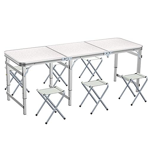 Ostazt 1.8M/6FT Portable Folding Table Adjustable Height Folding Camping Table with 6 Chairs for Garden Party/BBQ/Work/Homework