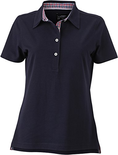 James & Nicholson Damen Ladies´ Plain Polo Poloshirt, Blau (Navy-Red/Navy-White), 38 (Herstellergröße: L)